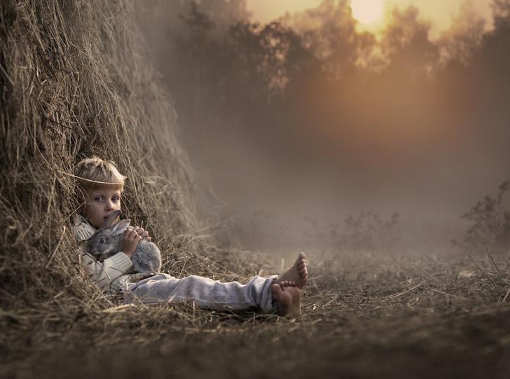 Çocuk Tavşan Samanlık Fotoğraf