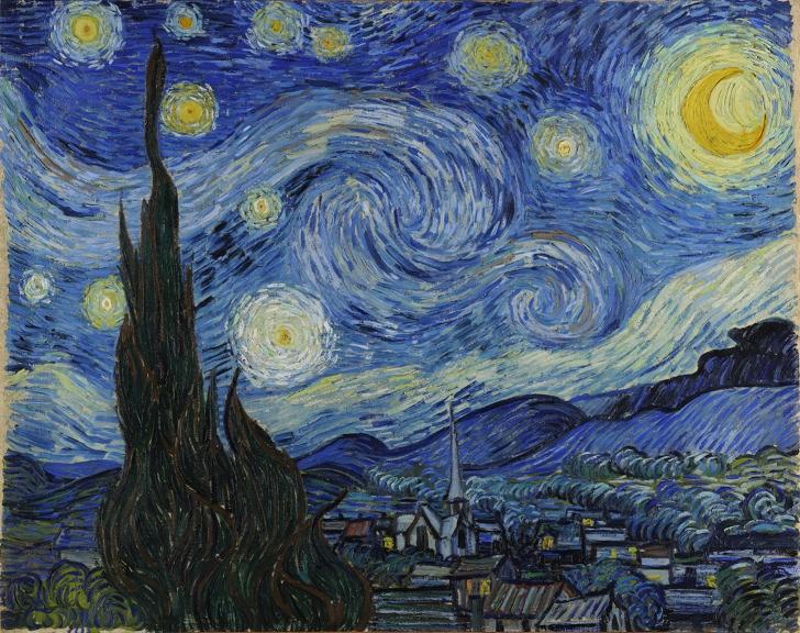 Yıldızlı Gece, 1889, Tuval Üzerine Yağlıboya, 74 x 92 cm, Modern Sanatlar Müzesi, New York, Amerika Birleşik Devletleri
