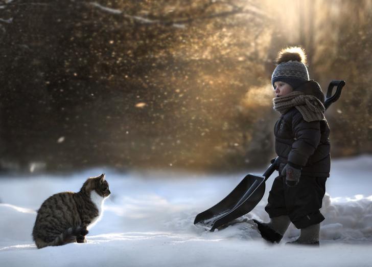 Kar Çocuk Kedi Fotoğraf