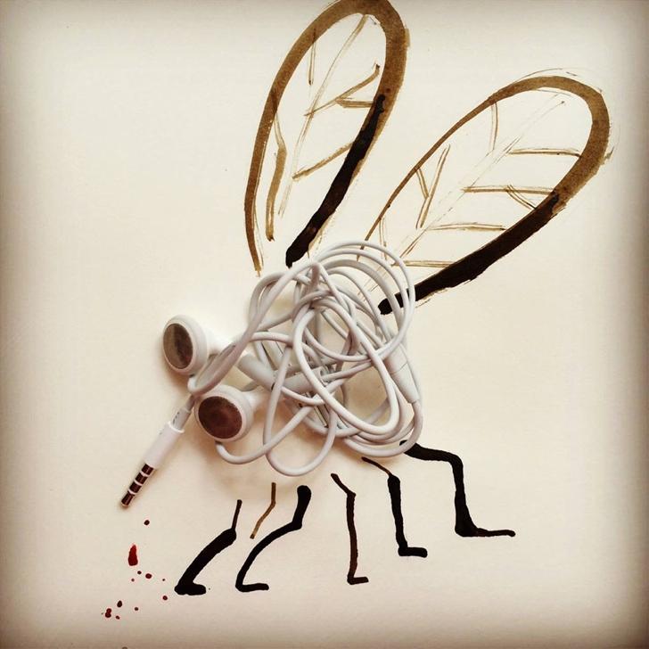 çizim yaratıcı sanat kulaklık sinek 1
