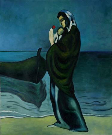 deniz kenarında anne çocuk pablo picasso