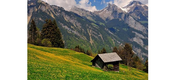 isviçre dağları kulübe ev doğa