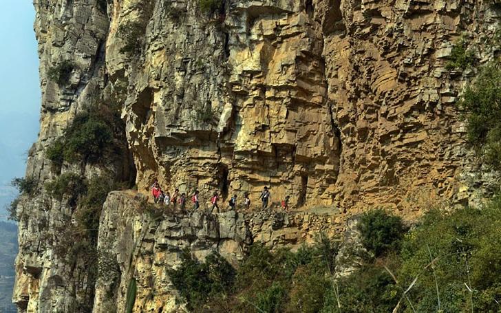 okula giden çocuklar dağlar çin
