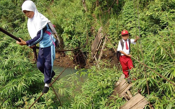 okula giden çocuklar endonezya