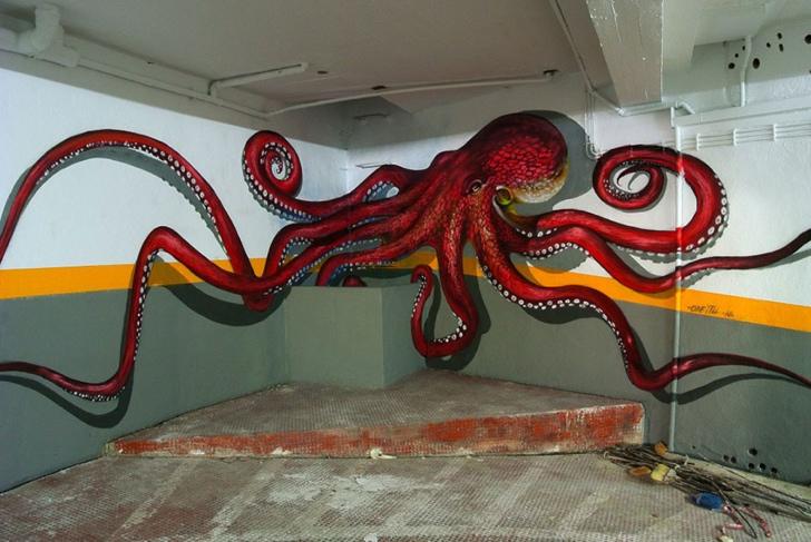 graffiti ahtapot fotoğraf sanat