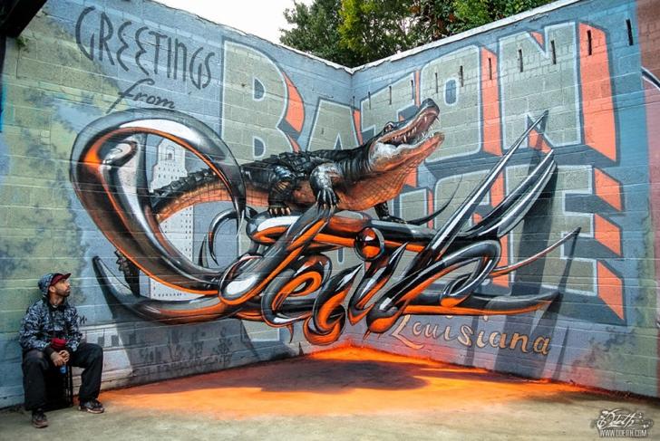 graffiti timsah fotoğraf sanat