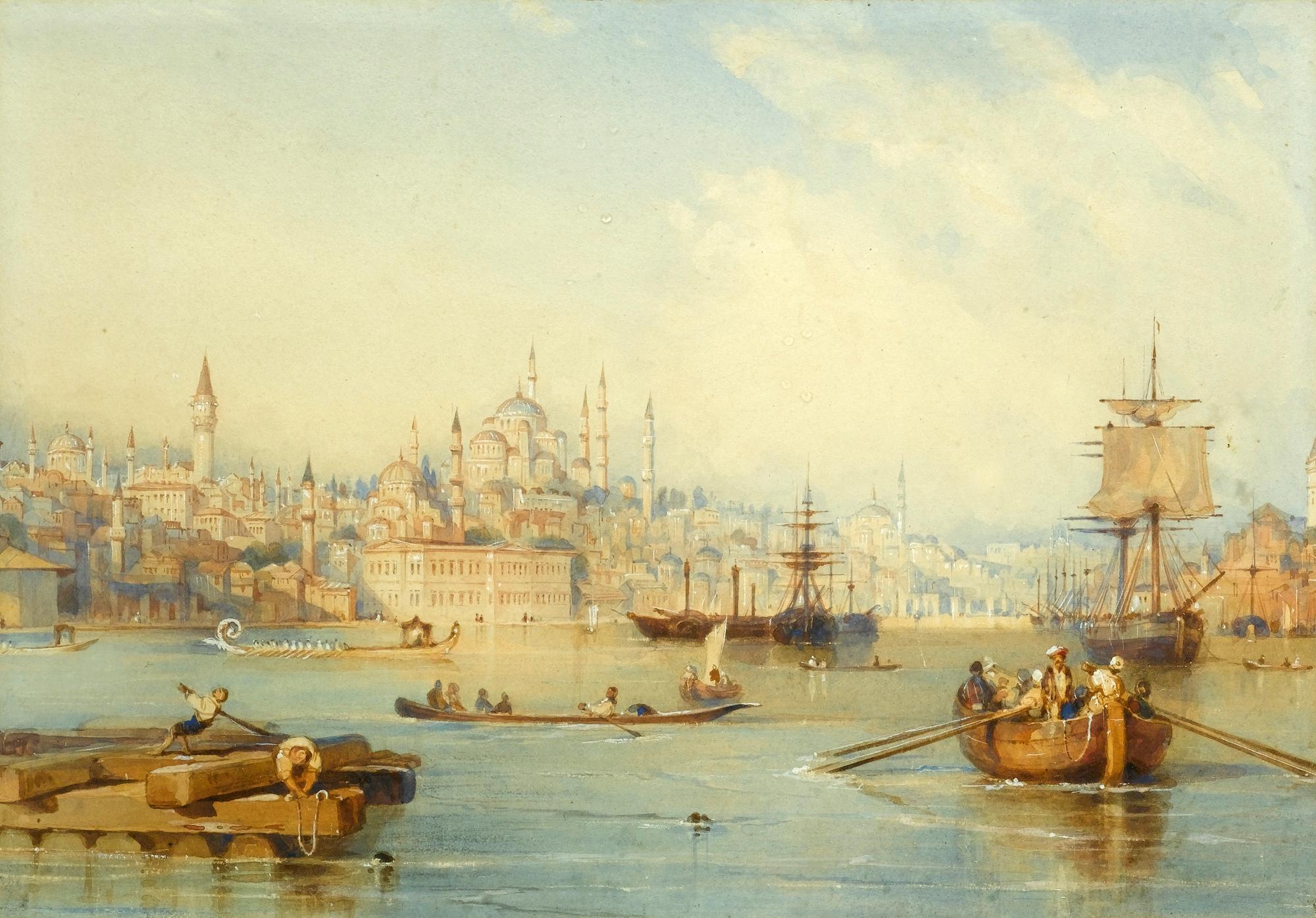 Thomas Allom Haliç'in Girişinden İstanbul