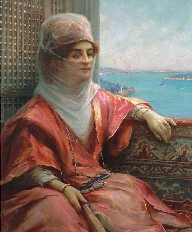 fausto zonaro boğaz manzarasında türk kadın