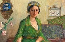 ibrahim calli yeşil elbiseli kadın Bayan Vicdan Moralının portresi