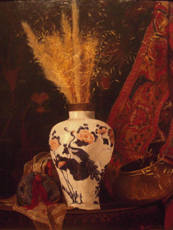 osman hamdi bey beyaz vazoda çiçekler