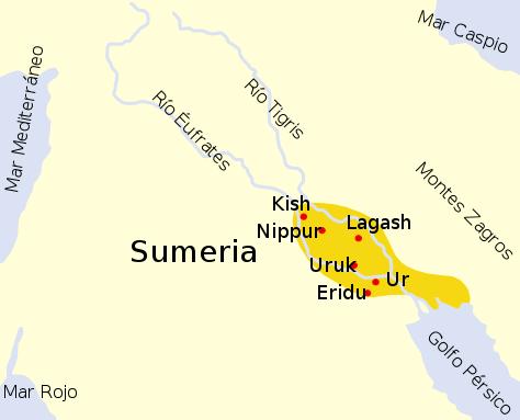 sümerler harita şehirler