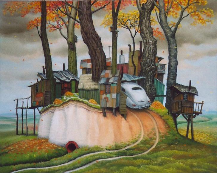 jacek yerka, autumn at madera, sürrealist ressamlar