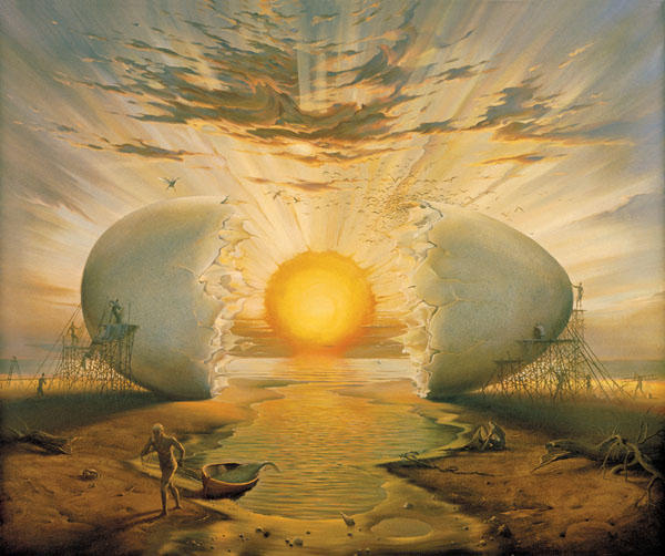 vladimir kush sunrise by the ocean tablo
