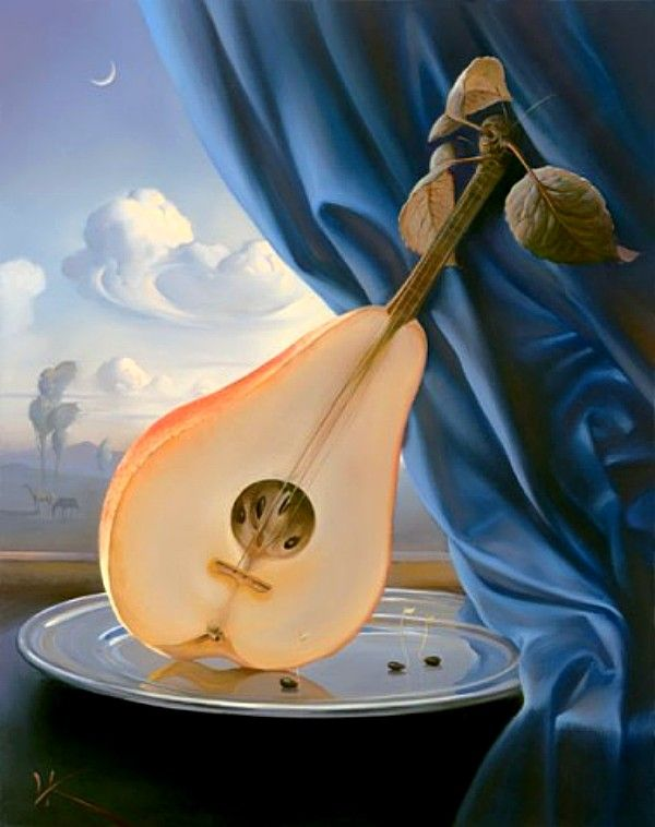 vladimir kush still life with mandolin tablo