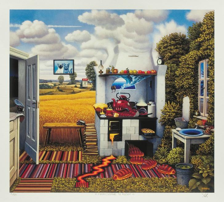 jacek yerka, sürreal resimler, jacek yerka'nın resimleri, perturbation in the kitchen