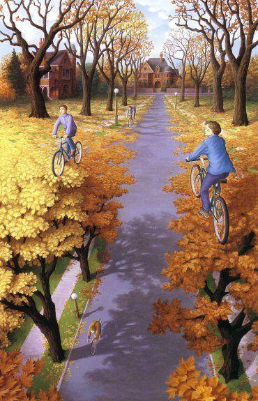 rob gonsalves, autumn cycling, rob gonsalves resimleri, büyülü gerçekçilik
