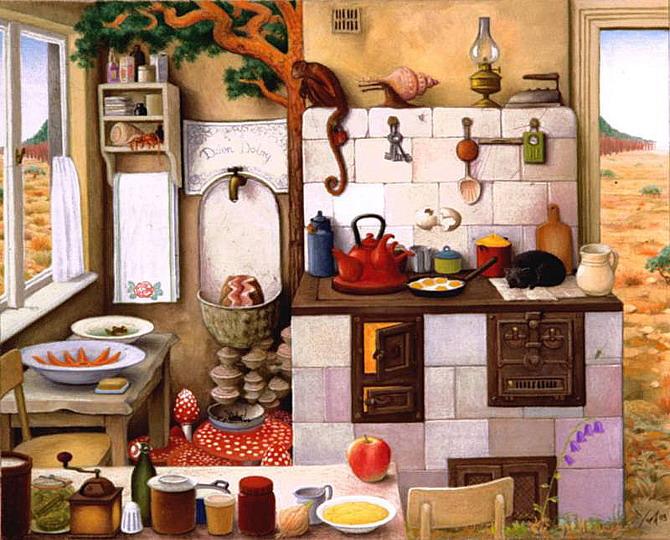 jacek yerka, sürreal resimler, jacek yerka'nın resimleri, grandma's kitchen