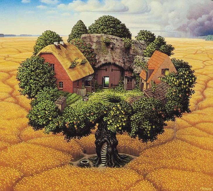 jacek yerka, sürreal resimler, jacek yerka'nın resimleri, homestead