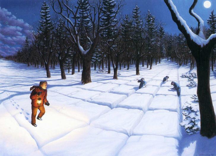 rob gonsalves, in the snowy woods, rob gonsalves resimleri, büyülü gerçekçilik