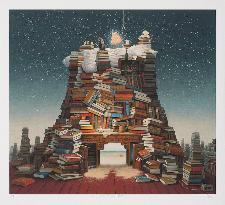 jacek yerka, sürreal resimler, jacek yerka'nın resimleri, night reading
