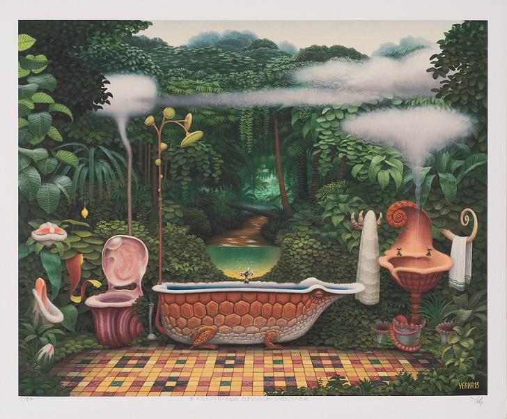 jacek yerka, sürreal resimler, jacek yerka'nın resimleri, pocket jungle bathroom