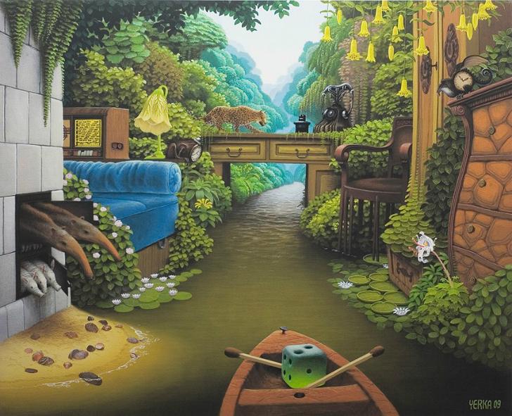 jacek yerka, pocket jungle room, sürreal resimler, jacek yerka'nın resimleri