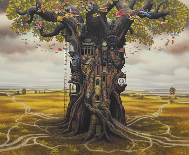 jacek yerka, sürreal resimler, jacek yerka'nın resimleri, residential oak