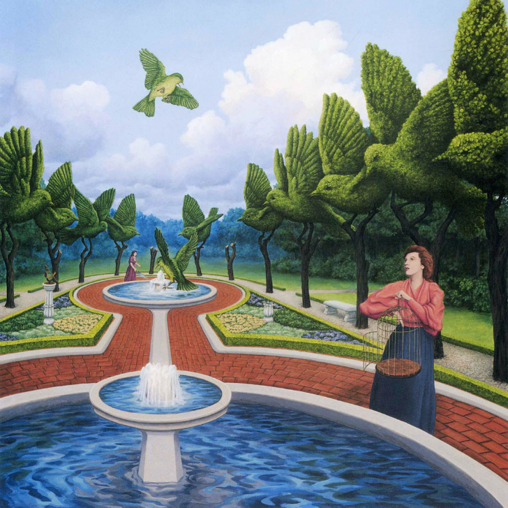 rob gonsalves, small giant green birds at the fountain, rob gonsalves resimleri, büyülü gerçekçilik