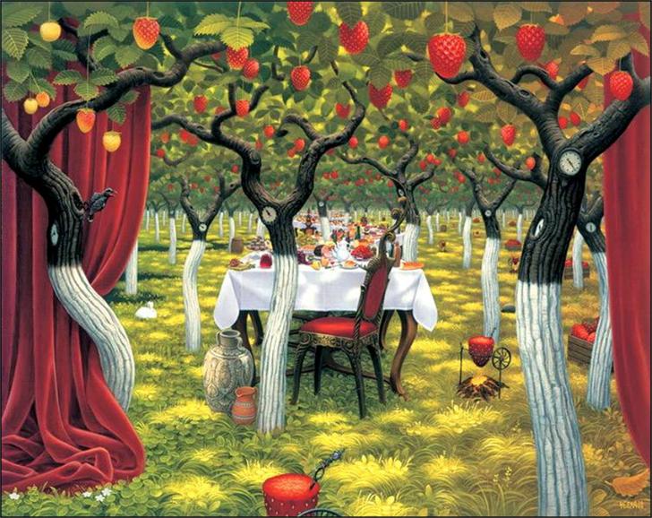 jacek yerka, sürreal resimler, jacek yerka'nın resimleri, strawberry garden