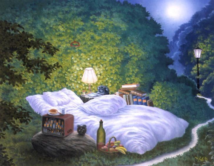 jacek yerka, sürreal resimler, jacek yerka'nın resimleri, the moonlight bed