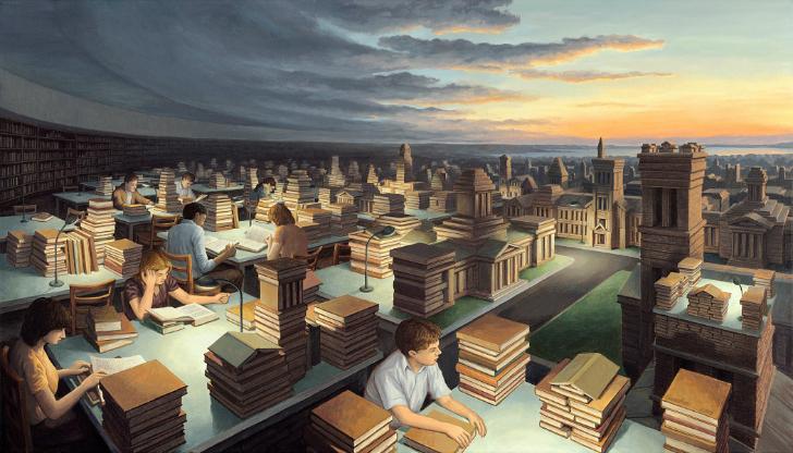 rob gonsalves, towers of knowledge, rob gonsalves resimleri, büyülü gerçekçilik