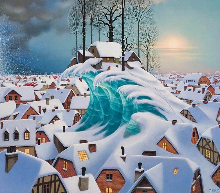 jacek yerka, sürreal resimler, jacek yerka'nın resimleri, winter wave