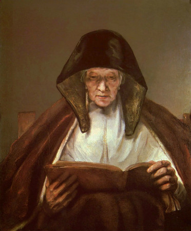 Rembrandt-Portrait-Of-An-Old-Woman-Reading-1655