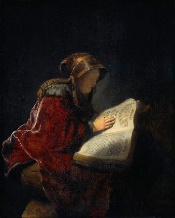 Rembrandt-The-Prophetess-Anna-Rembrandts-Mother-1631