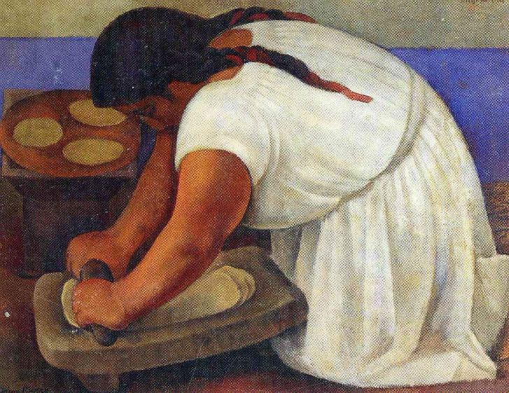 Diego Rivera, Woman Grinding Maize