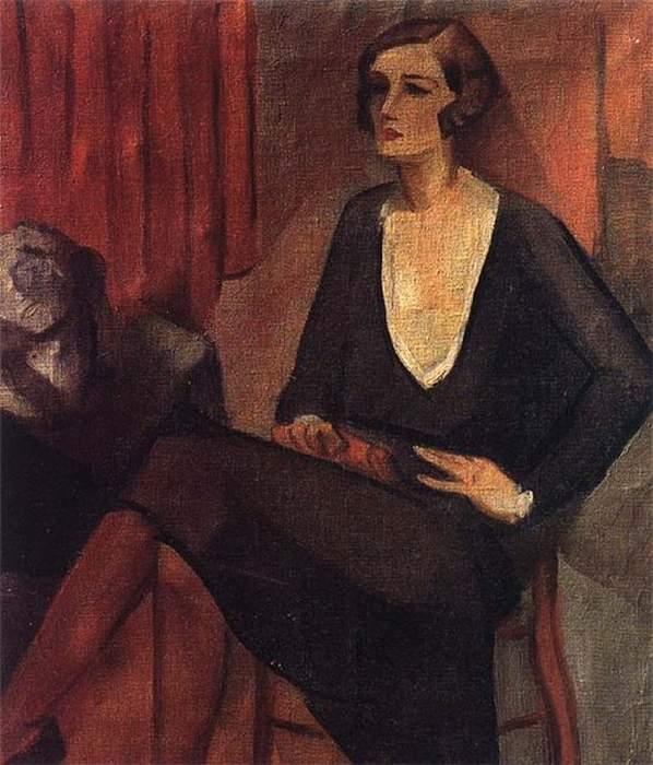 cemal tollu, siyah elbiseli kadın, türk ressamlar, portre resimleri, portre nedir, portre tablolar, resim, ressam, tablo, otoportre