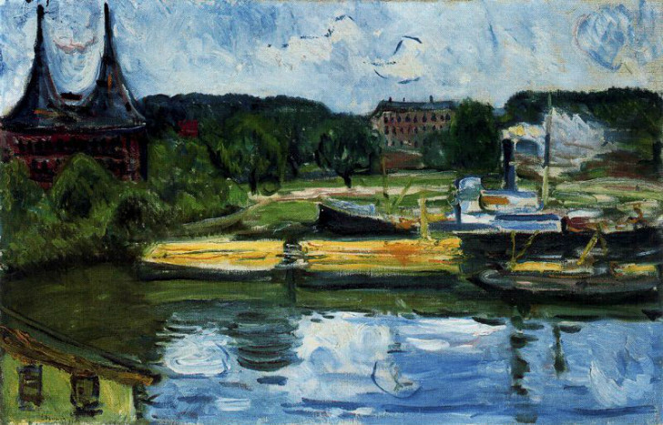Edvard Munch - Lübeck Harbour with the Holstentor