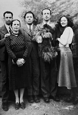 Louis Aragon, Elsa Triolet, André Breton, Paul Éluard ve Maria Benz