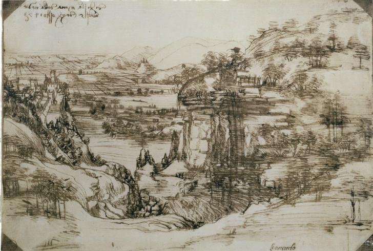 Leonardo da Vinci, Arno Vadisi Manzarası - 1473