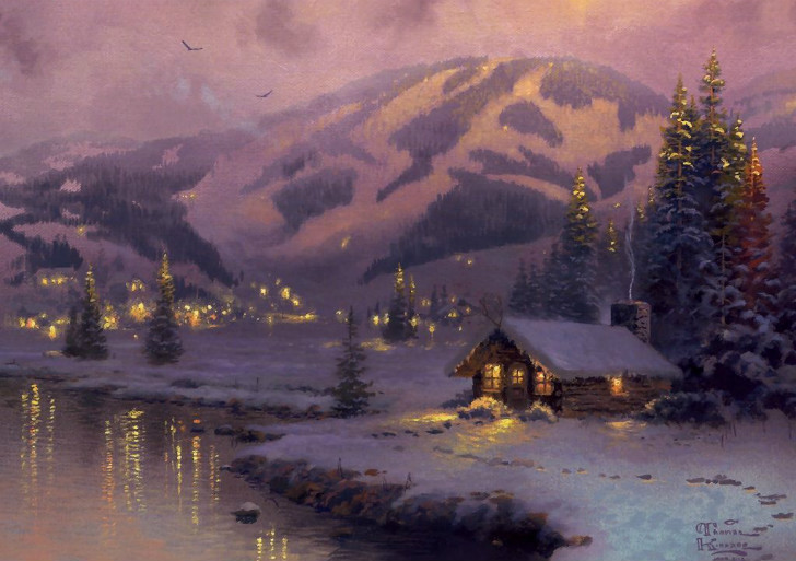 Kinkade Olympic Mountain Evening