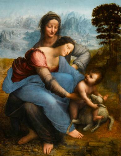 Virgin and Child with St. Anne, leonardo da vinci tabloları