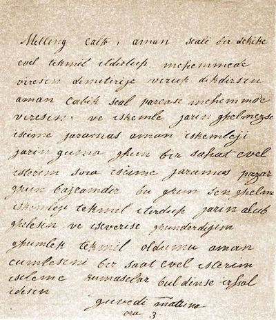 hatice sultan melling mektup
