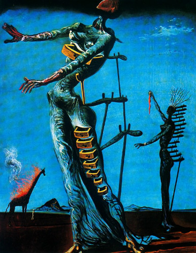 the burning giraffe, salvador dali