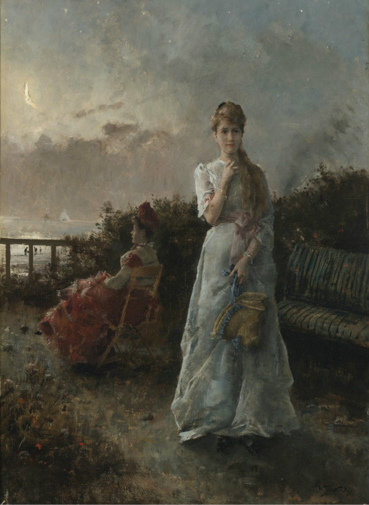alfred stevens evening by the sea