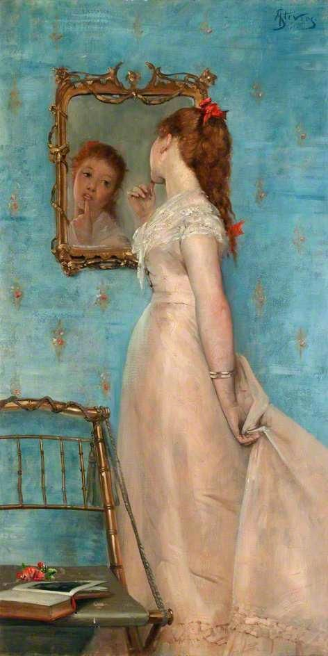alfred stevens girl looking in the mirror