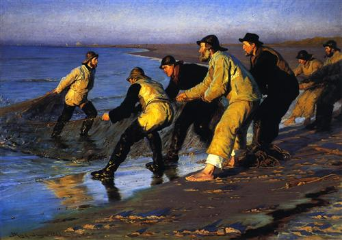 Fishermen Hauling The Net On Skagen's North Beach