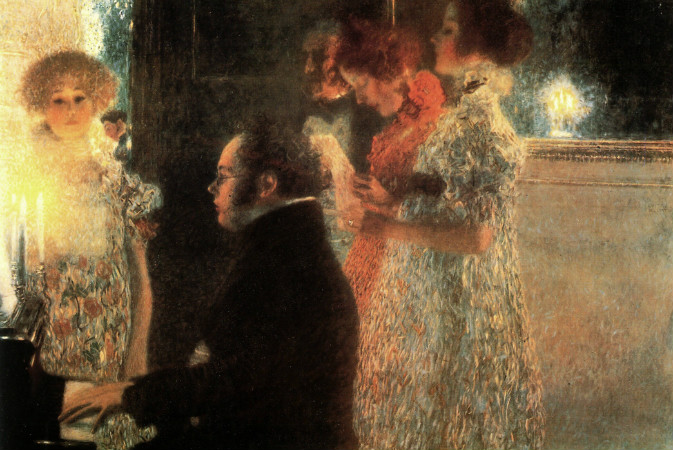 gustav klimt - schubert at the piano