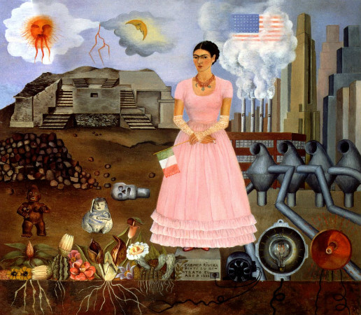 frida kahlo - self portrait along the border line between mexico and the united states