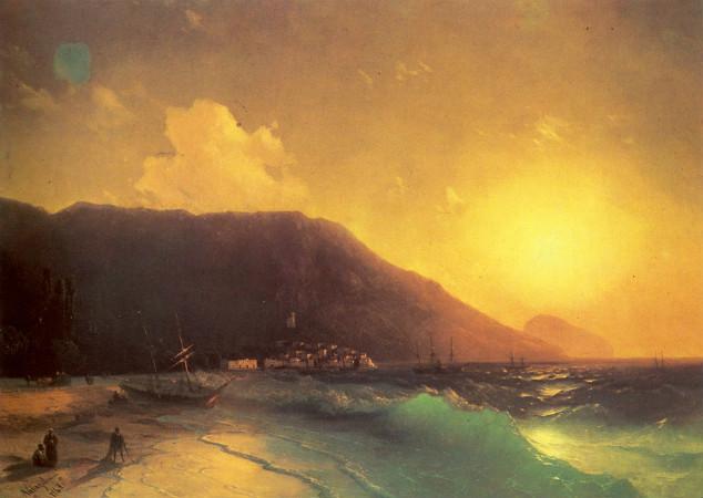 Ivan Konstantinovich Aivazovsky, Günbatımında Sahil, 1867