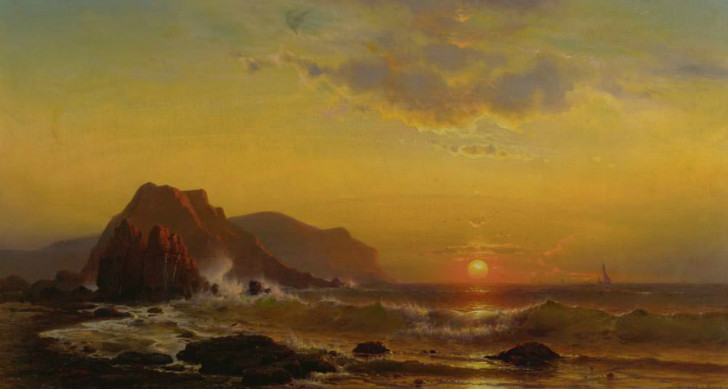 Mauritz de Haas, Sunset Over The Waves, 1890